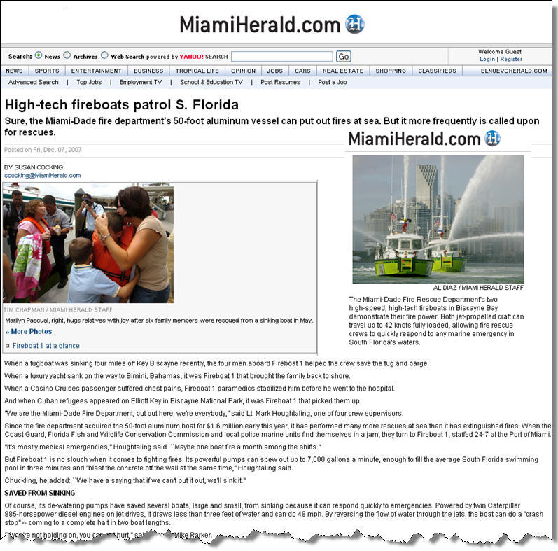 Miami-Herald front-page story about MetalCraft Marine fireboats