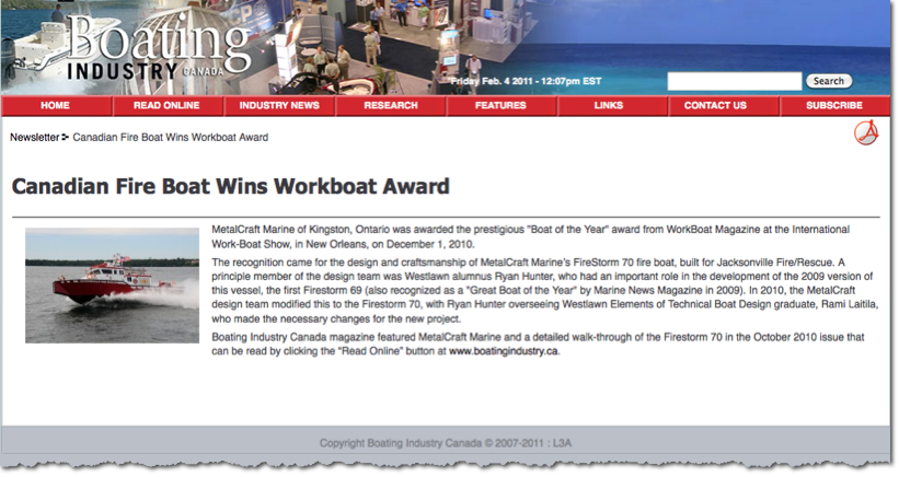MetalCraft Marine built the 2010 Workboat of the Year