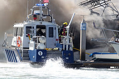 San Diego Harbour Police responding to a boat fire, Sep 2012