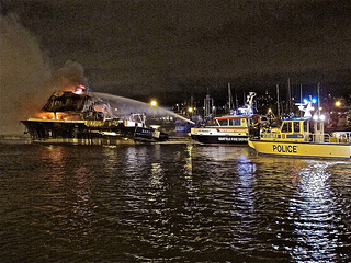 Dramatic Photo from a 105-foot charter boat fire at Fishermen's Terminal in Seattle