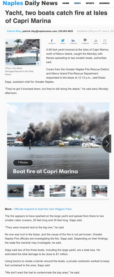 Isle of Capri Marina fire