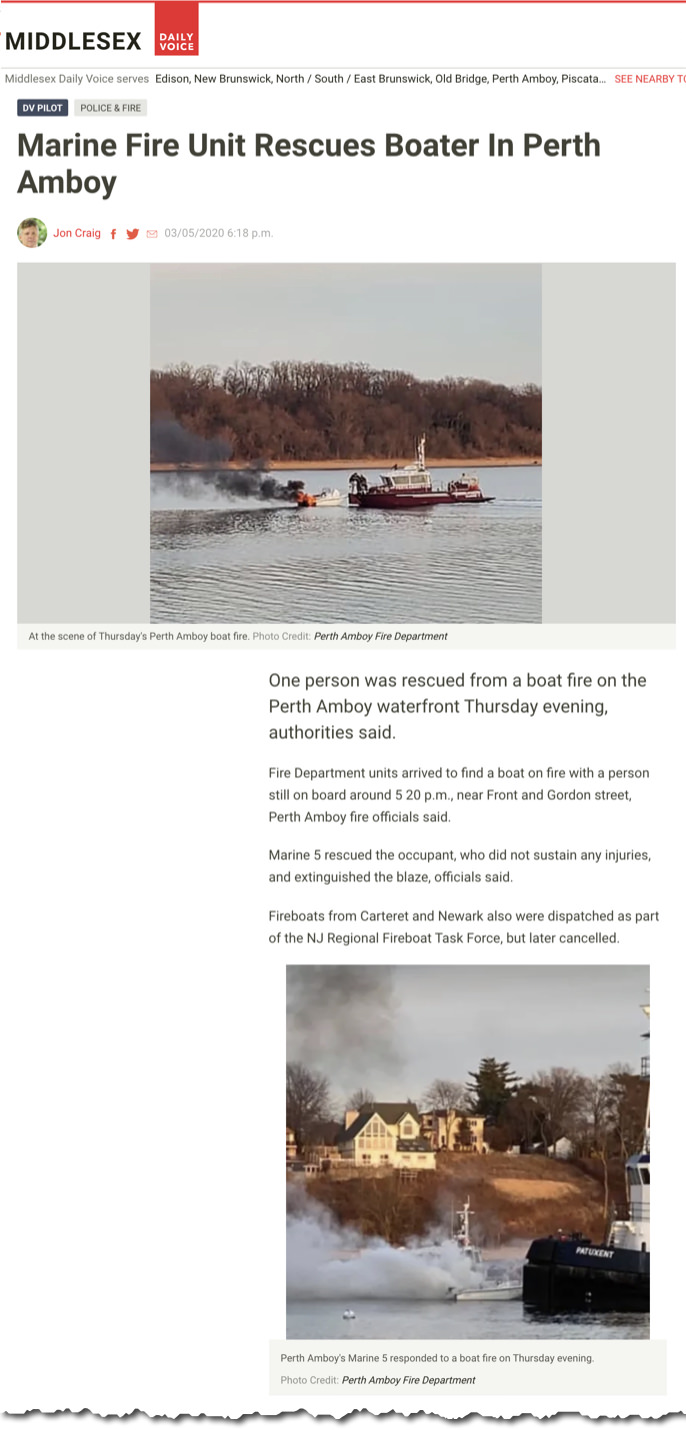 Man rescued from a boat fire off Perth Amboy.