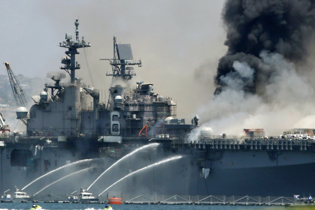 Fire aboard the <strong>USS Bonhomme Richard</strong> at Naval Base San Diego