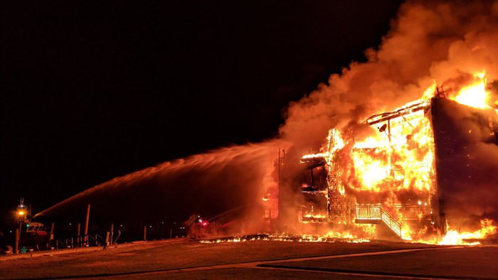 Massive fire in Perryville, MD, with .