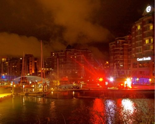 The Victoria Fire Department responded to a fire at a marina in front of the Coast Harbourside Hotel in James Bay on Saturday, Jan. 27, 2018.